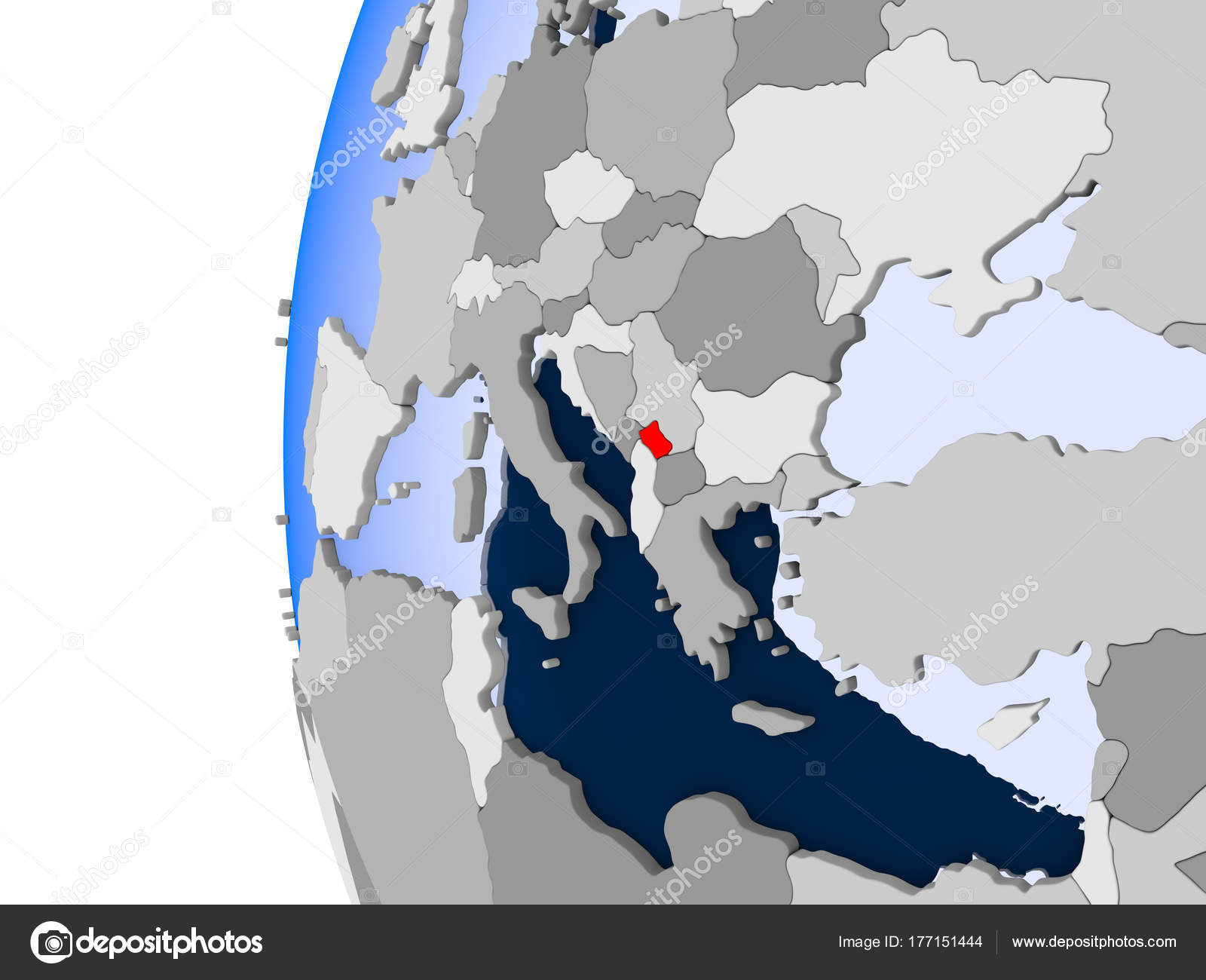 Map of kosovo on political globe stock photo tomiger 177151444 map of kosovo on political globe stock photo gumiabroncs Choice Image