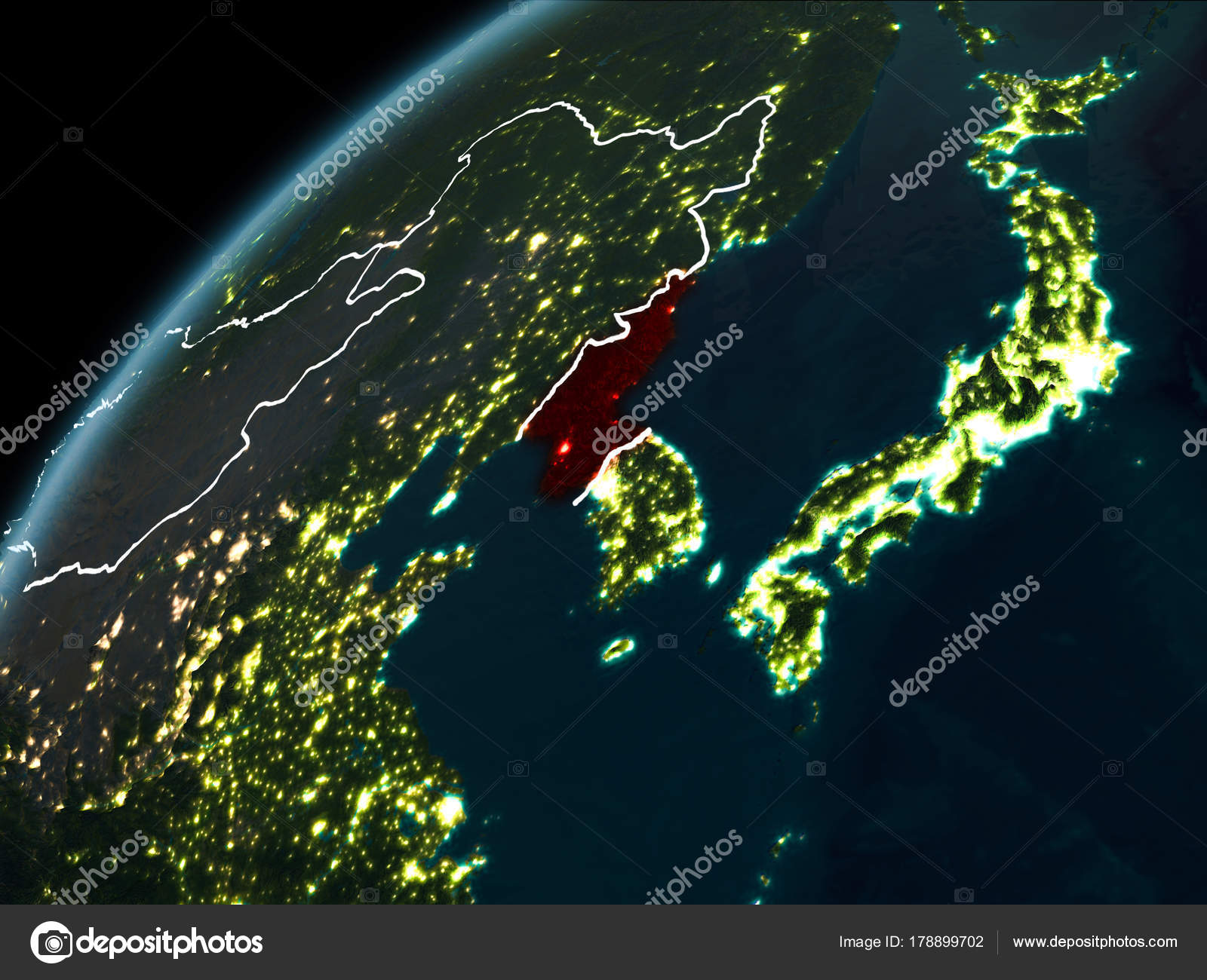 Night over north korea stock photo tomiger 178899702 night over north korea stock photo gumiabroncs Choice Image