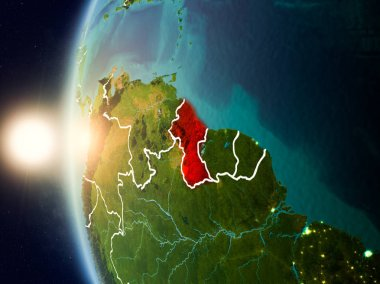 Sunset above Guyana from space