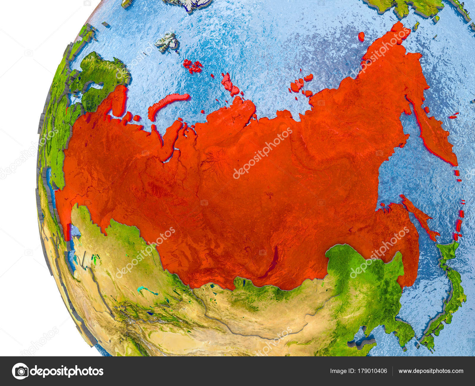 Map of russia on model of globe stock photo tomiger 179010406 map of russia on model of globe stock photo gumiabroncs Images
