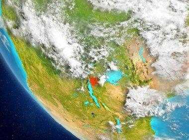 Satellite view of Burundi in red