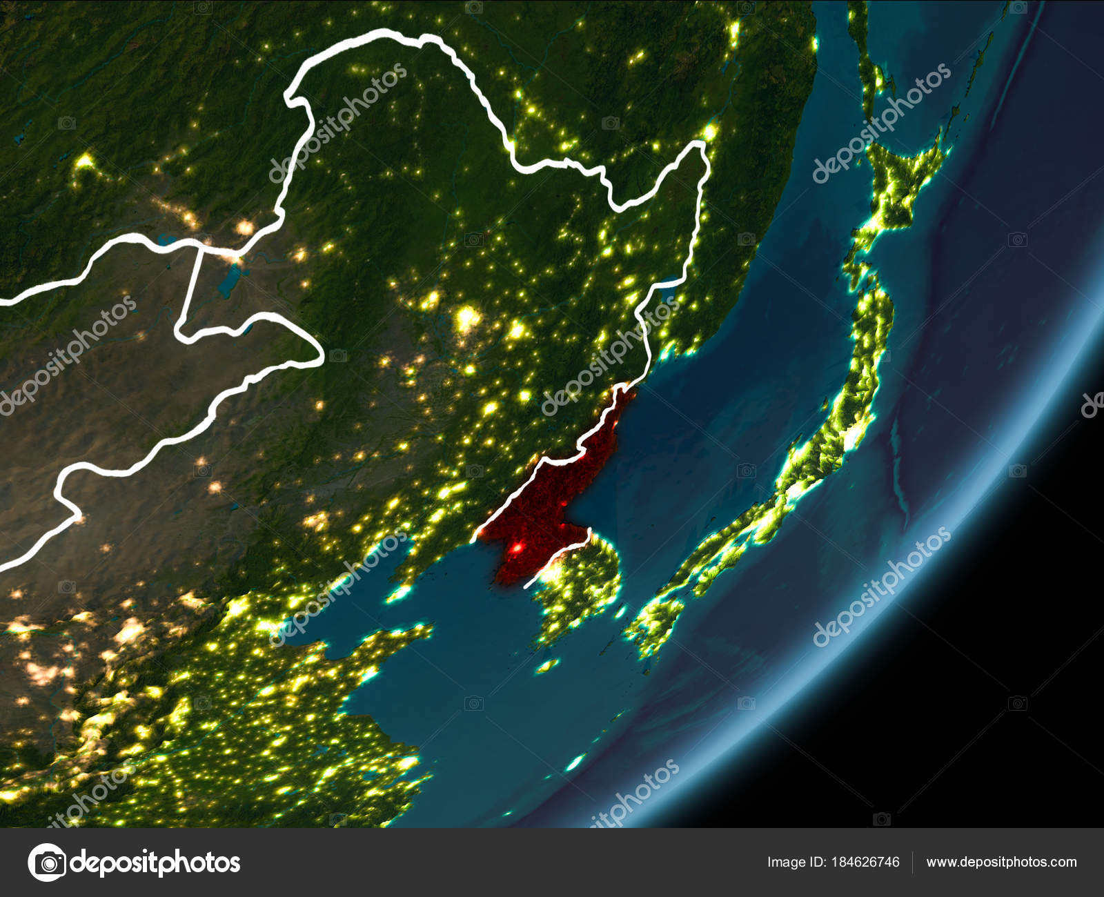 North korea on night earth stock photo tomiger 184626746 north korea on night earth stock photo gumiabroncs