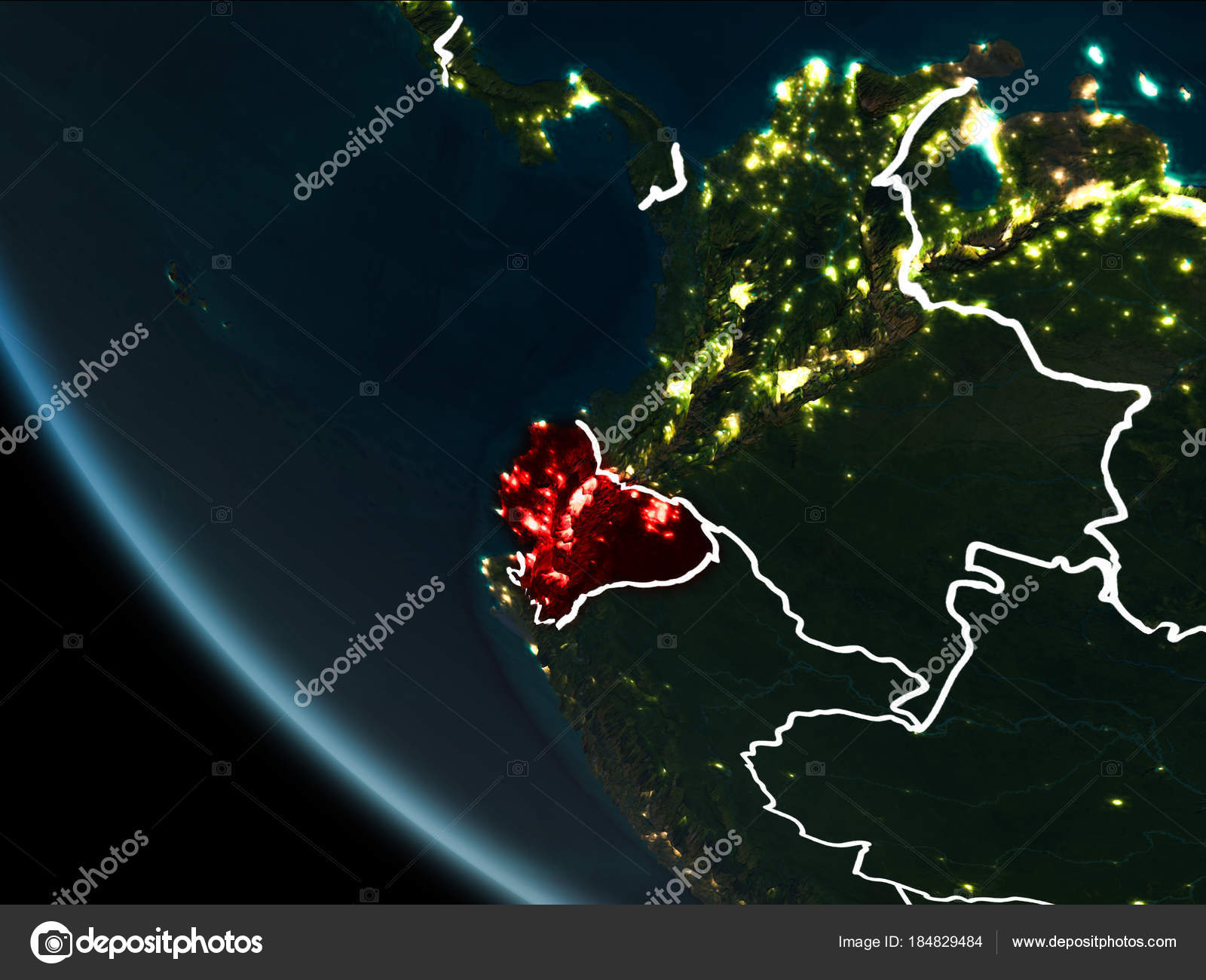 Satellite view of ecuador at night stock photo tomiger 184829484 satellite view of ecuador highlighted in red on planet earth at night with borderlines and city lights 3d illustration elements of this image furnished by gumiabroncs Image collections