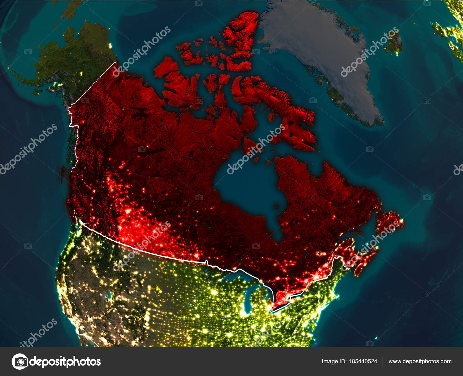 Map of Canada at night — Stock Photo © tom.griger #185440524
