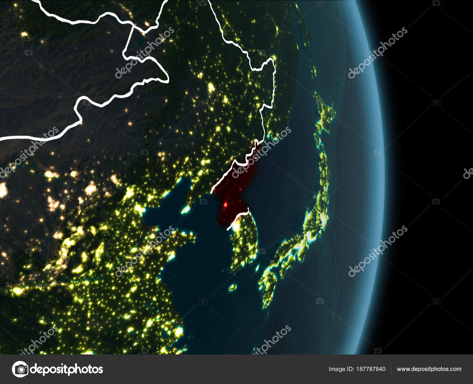 Orbit view of north korea at night stock photo tomiger 187787840 map of north korea in red as seen from space on planet earth at night with white borderlines and city lights 3d illustration gumiabroncs Image collections