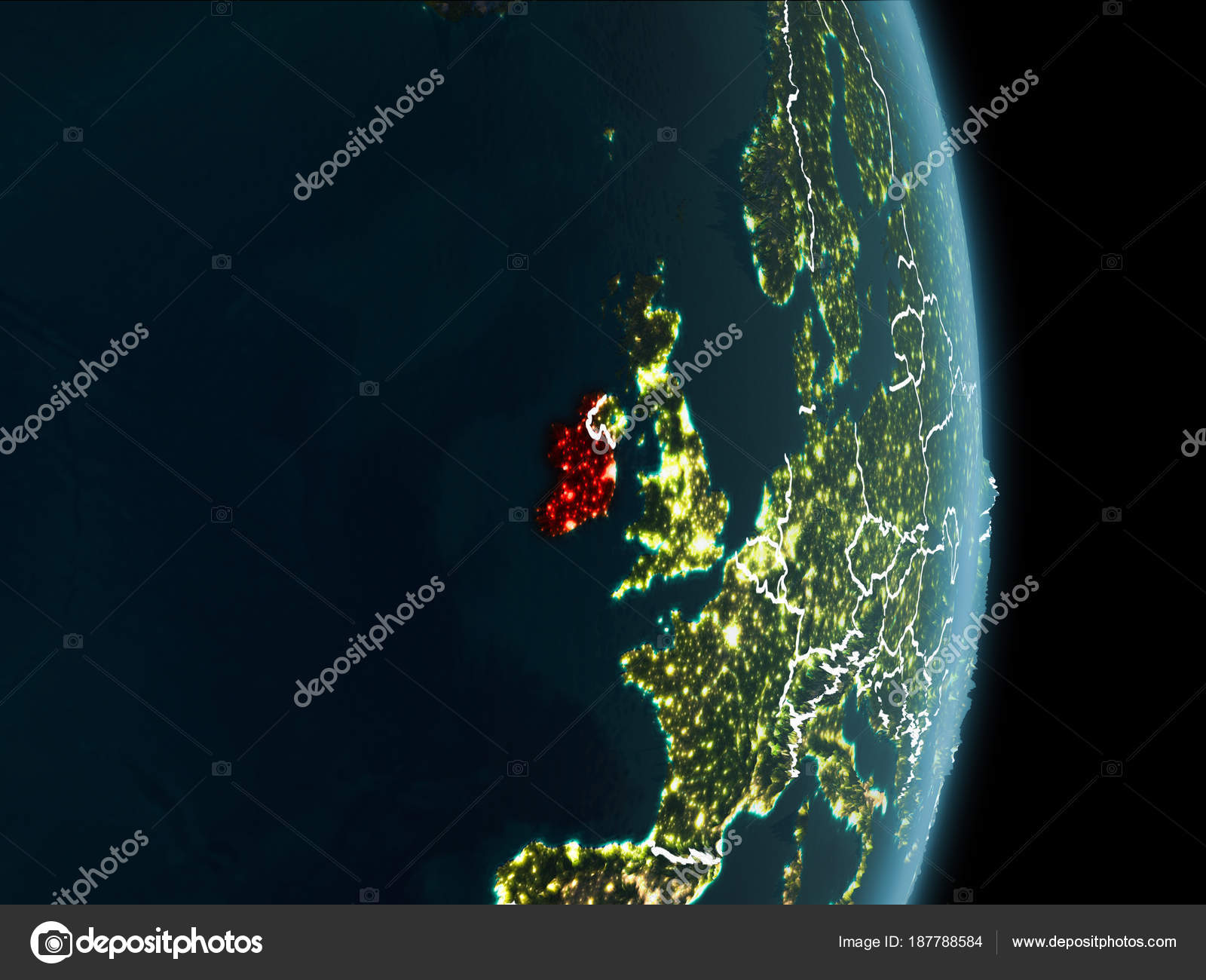 orbit view of ireland at night stock photo