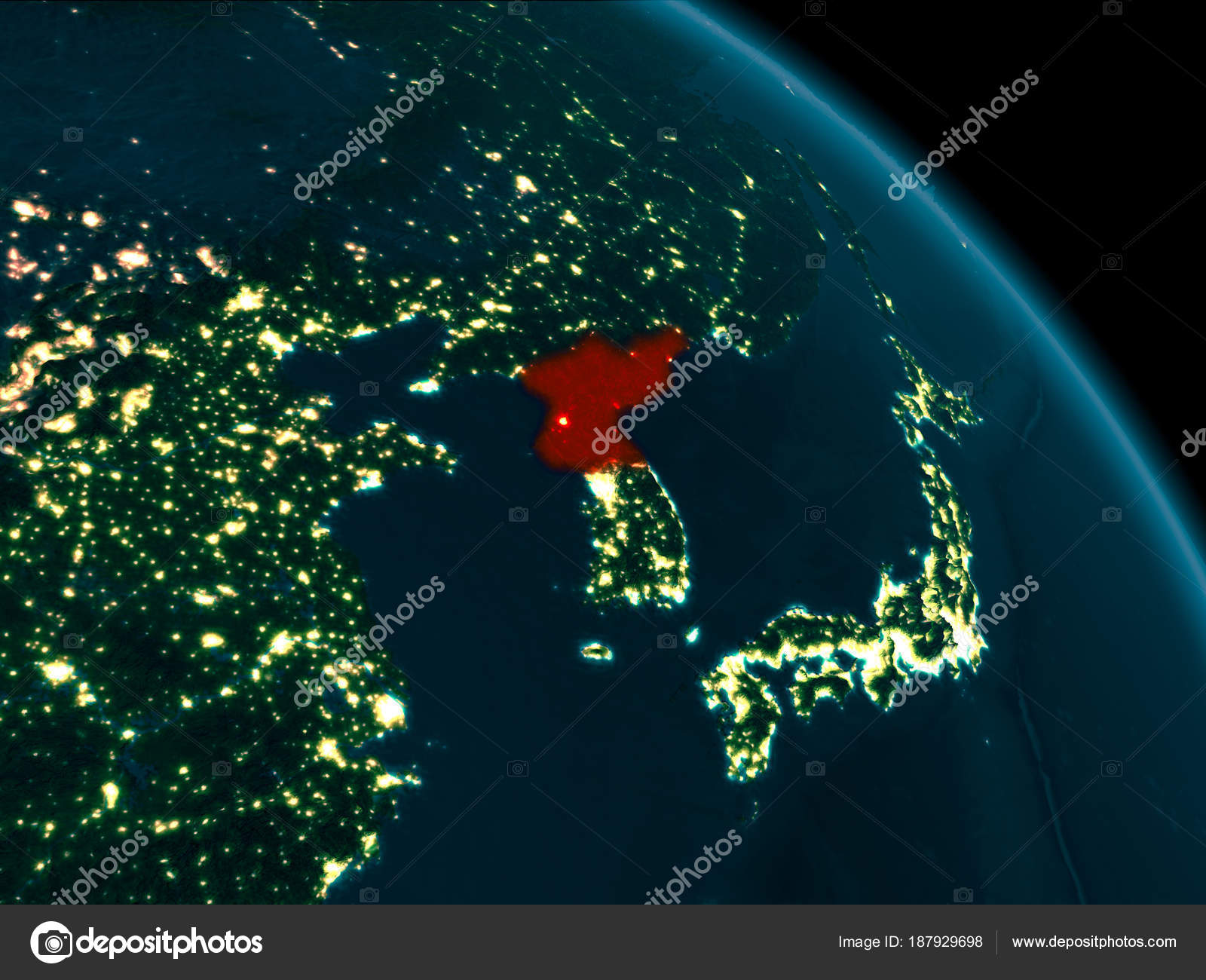 Night view of north korea on earth stock photo tomiger 187929698 night view of north korea on earth stock photo gumiabroncs Choice Image