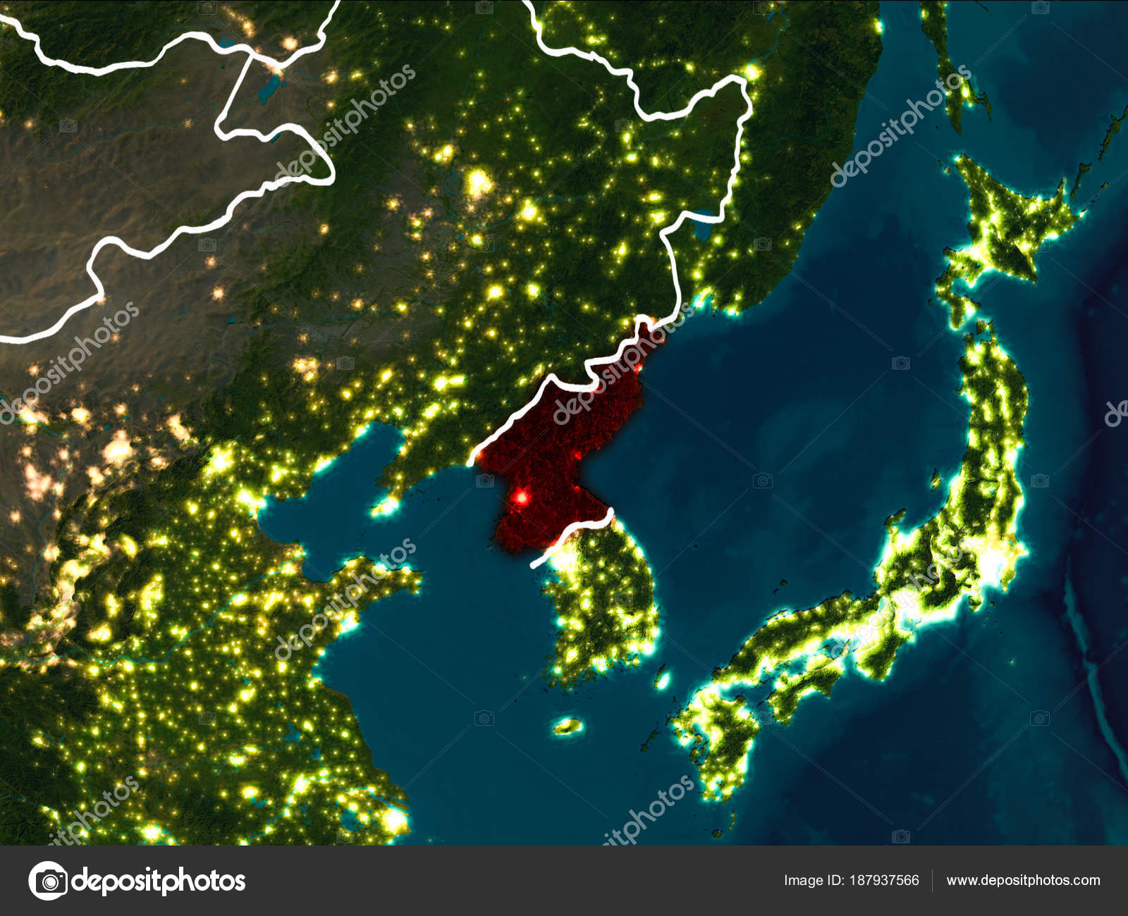 Map Of North Korea At Night Stock Photo C Tom Griger 187937566