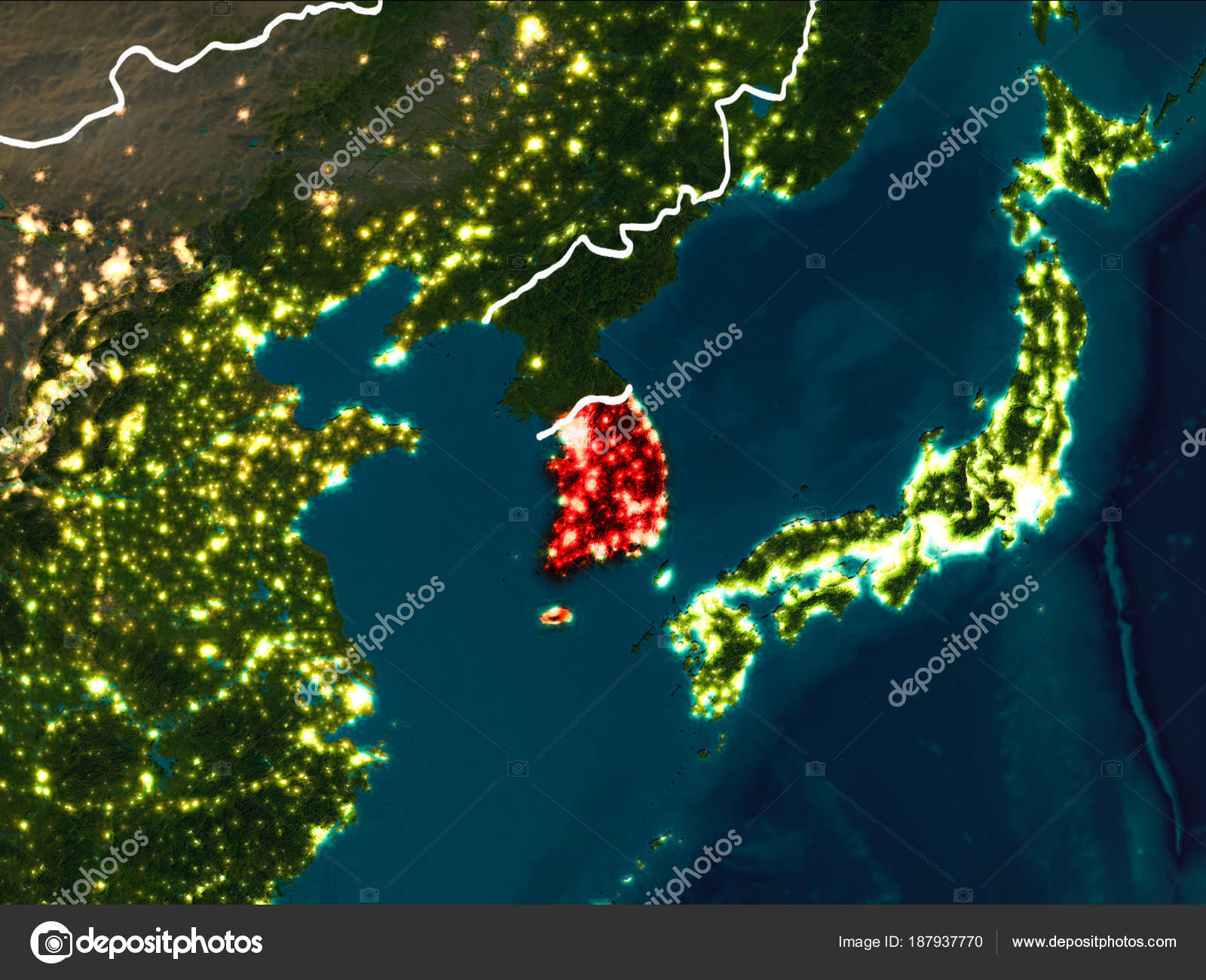 Map of south korea at night stock photo tomiger 187937770 south korea highlighted in red from earth orbit at night with visible country borders 3d illustration elements of this image furnished by nasa gumiabroncs Choice Image