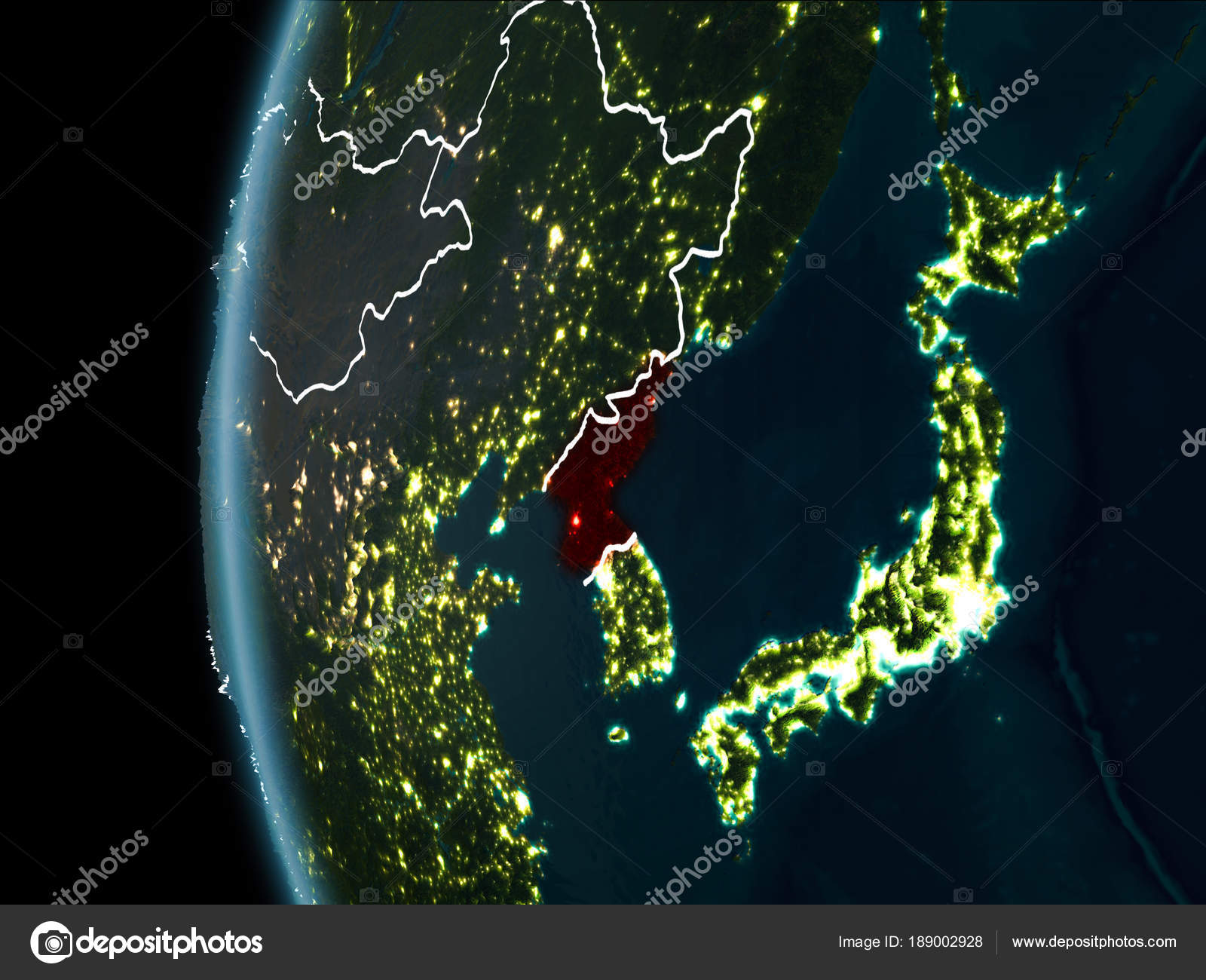 North korea from space at night stock photo tomiger 189002928 orbit view of north korea highlighted in red with visible borderlines and city lights on planet earth at night 3d illustration gumiabroncs Choice Image