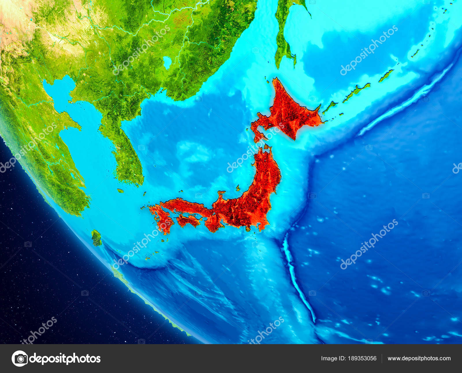 Japan on globe from space stock photo tomiger 189353056 japan highlighted in red on planet earth 3d illustration elements of this image furnished by nasa photo by tomiger gumiabroncs Gallery