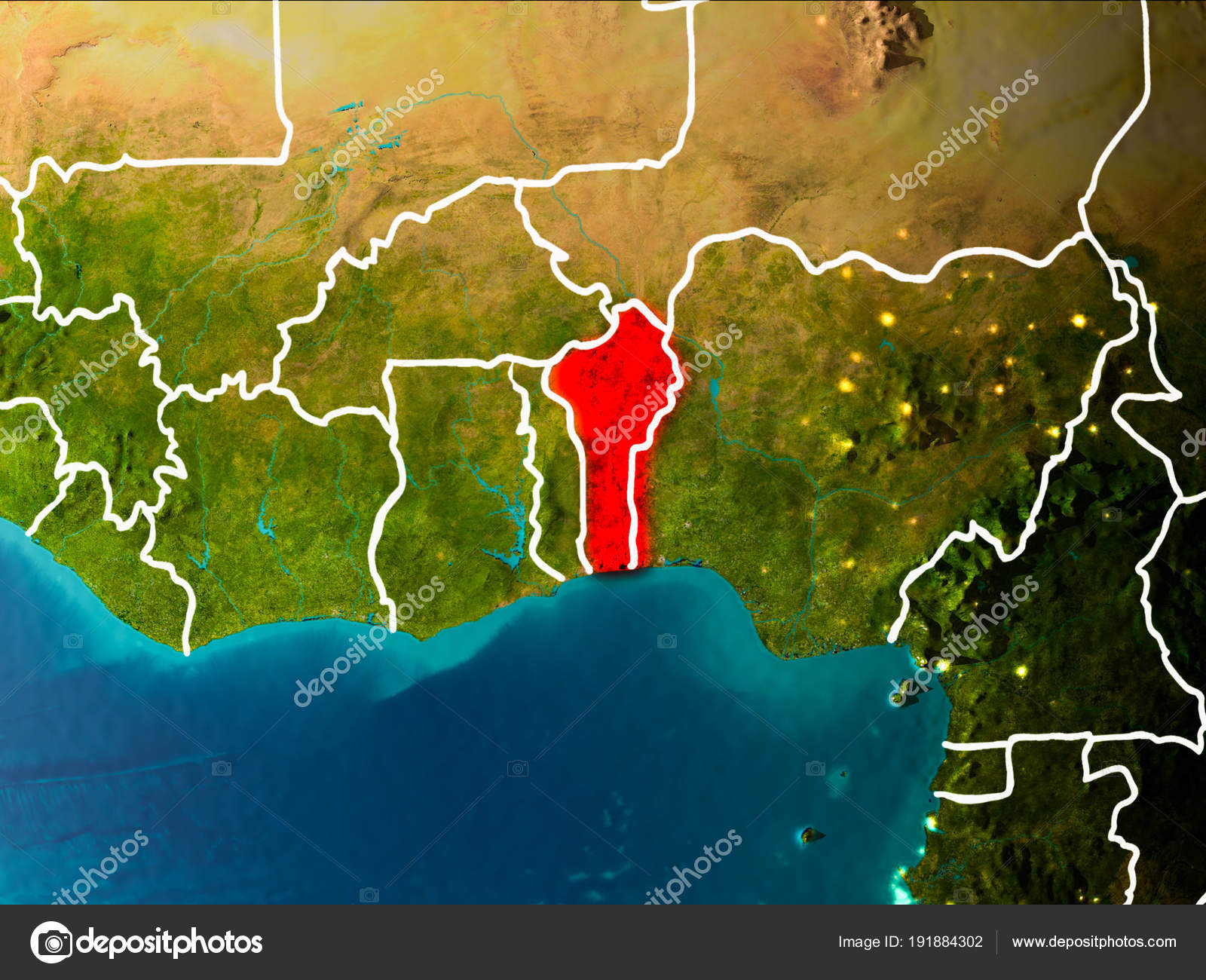 Map of Benin on Earth — Stock Photo © tom.griger #191884302