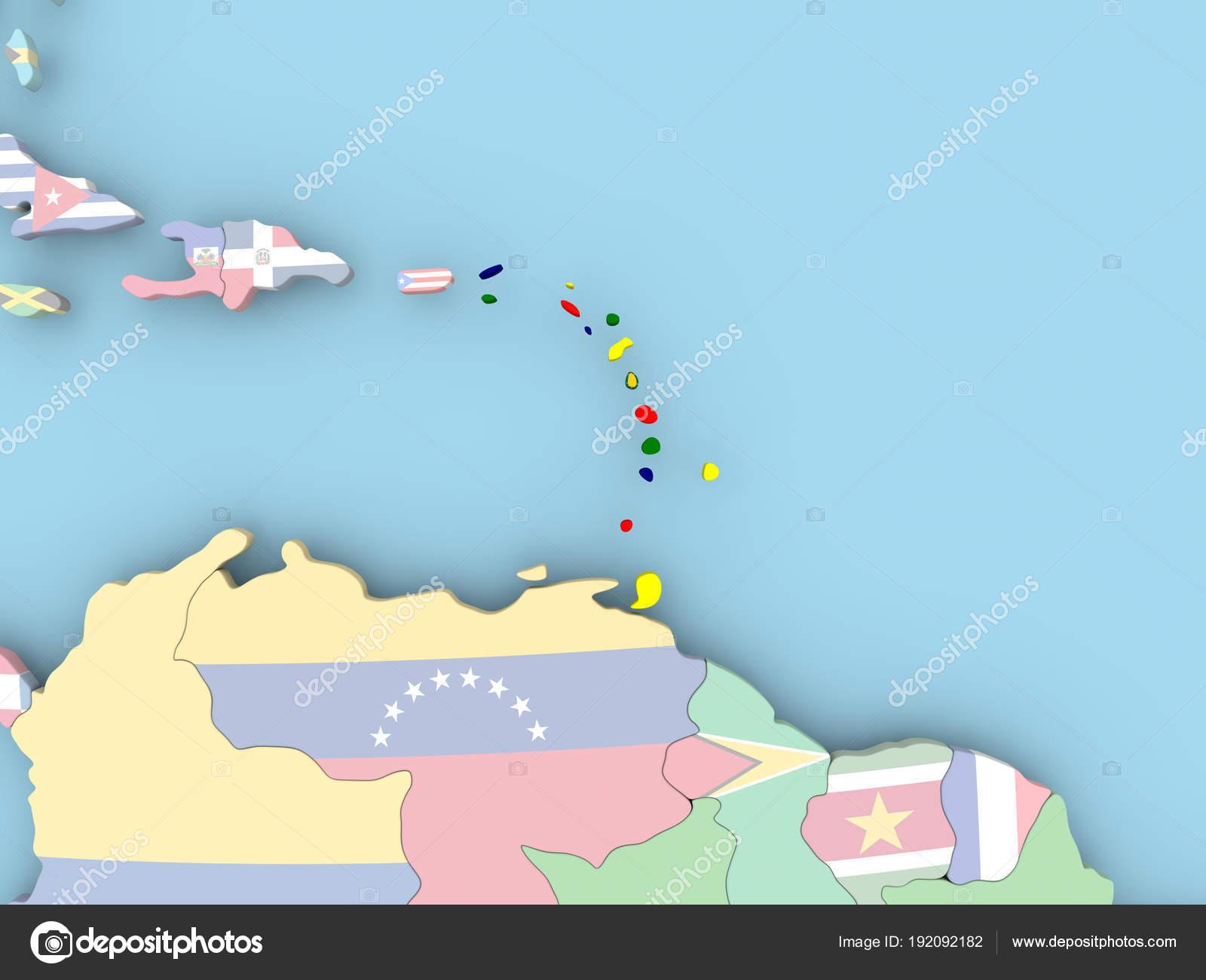 Karibik Karte Welt.Karte Der Karibik Mit Flagge Auf Der Ganzen Welt Stockfoto Tom