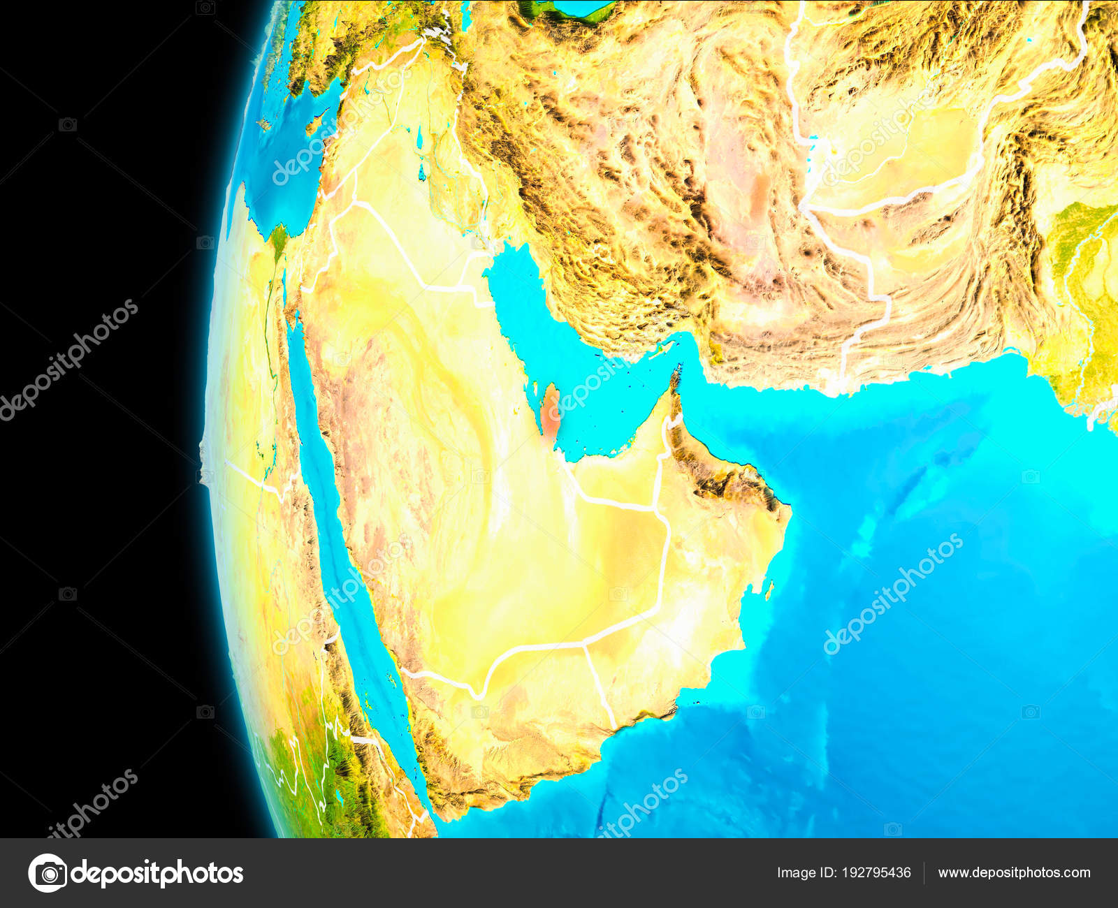 Map Of Qatar In Red Stock Photo C Tom Griger 192795436