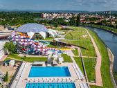 Photo Oradea, Romania - May 17, 2017: Oradea waterpark with waterslide