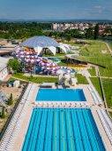 Photo Oradea, Romania - May 17, 2017: Oradea water park with waterslid