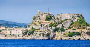 Corfu fortress walls as seen from the sea panoramic shot