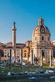 Fotografie Trajans Forum at sunrise in Rome, Italy near the Roman Forum