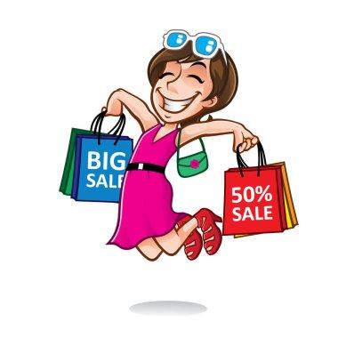 Cartoon Happy Shopper Girl