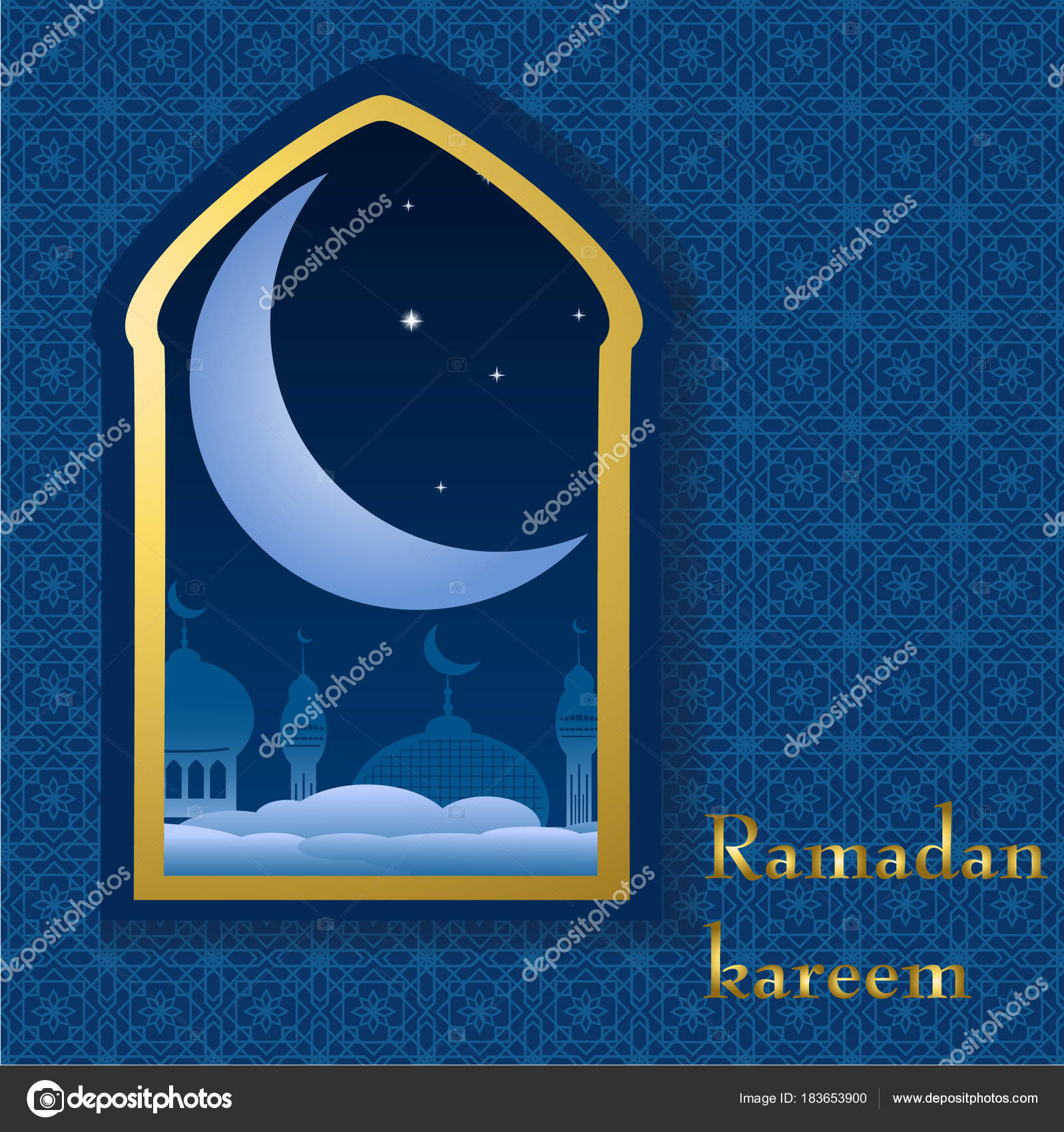 Ramadan Greeting Card With Crescent In Mosque Window And Arabic