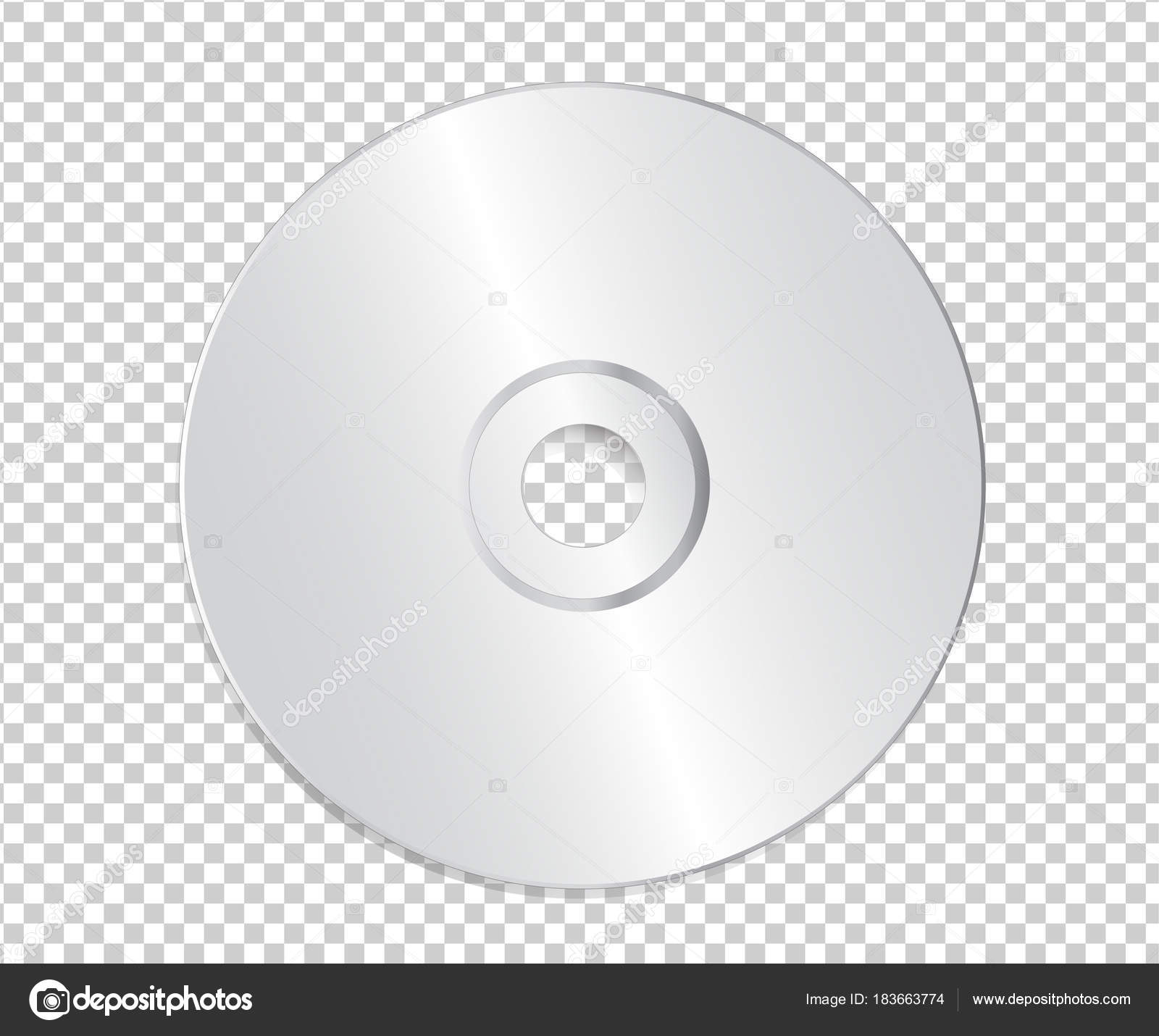 blank cd template on transparent background with shadow vector