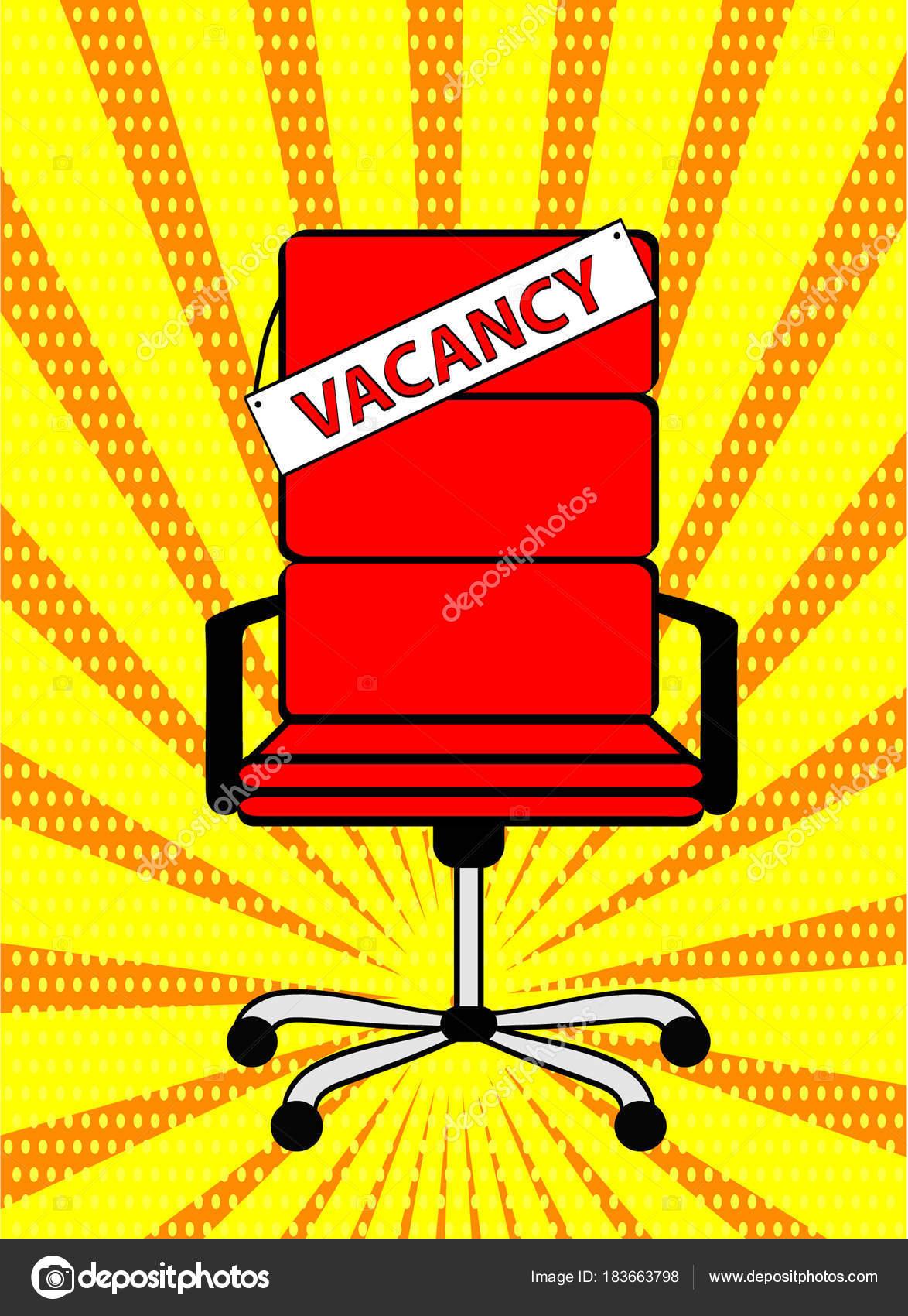 Chaise De Bureau Rouge Vide Et Signe Mot Vacance Sur Fond Bande Dessine Style Rtro Pop Art Entreprise Embauche Recrutement Concept