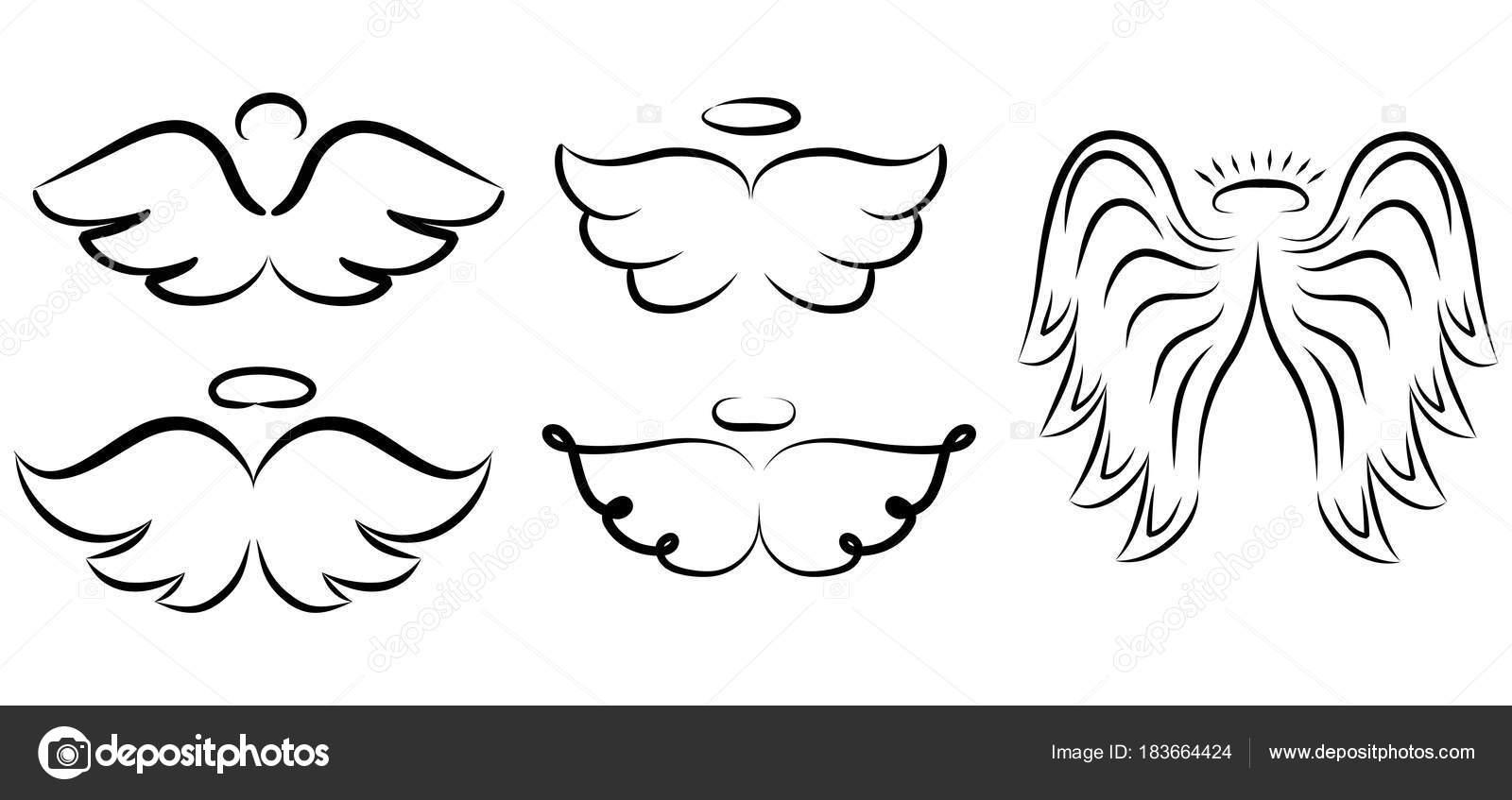 Engelsflügel Zeichnung Vektor Illustration Geflügelte Engel Tattoo