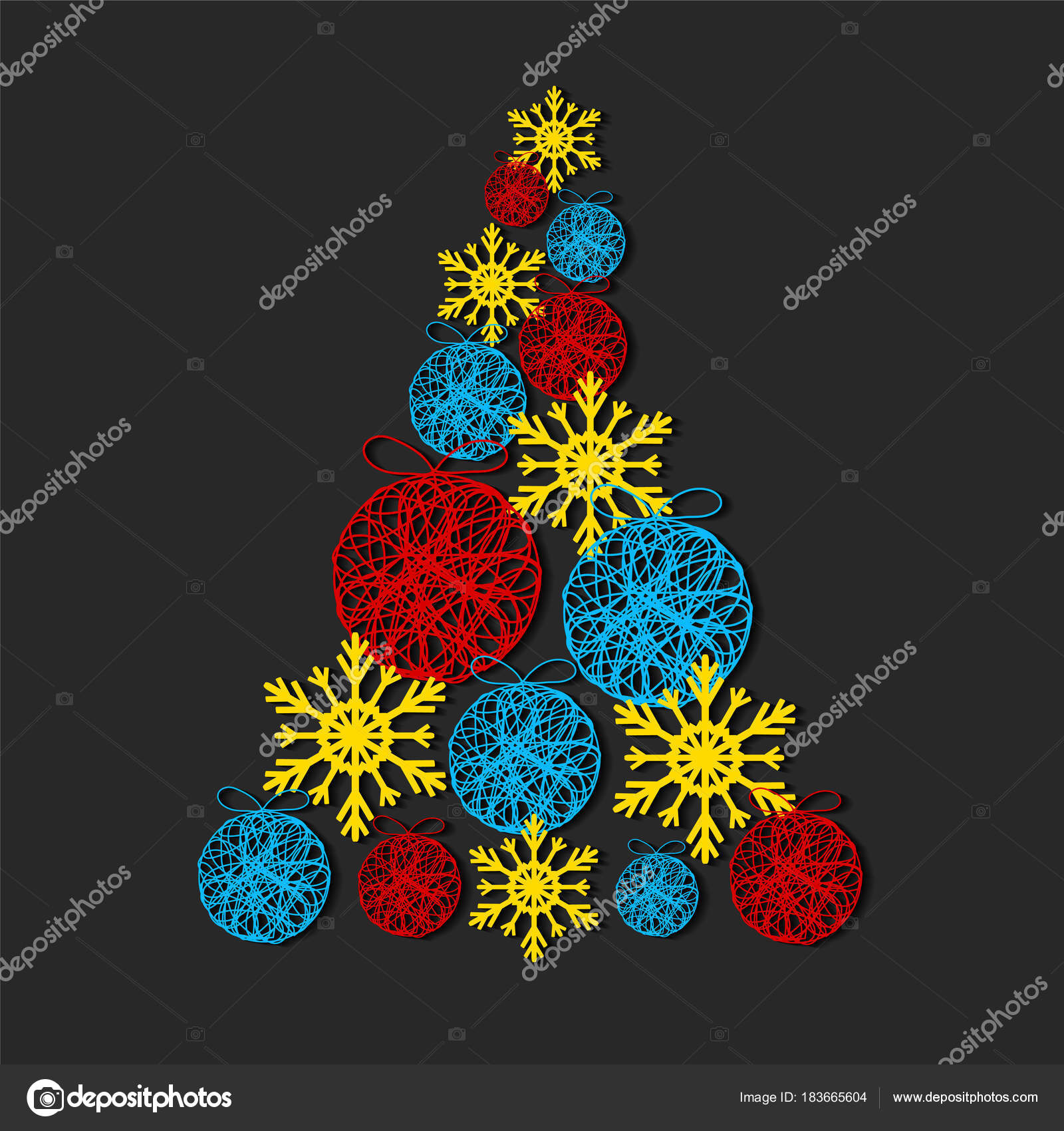 Christmas Tree Made From Snowflakes And Decorative Balls On Dark Background Stock Vector Illustration By VovanIvan