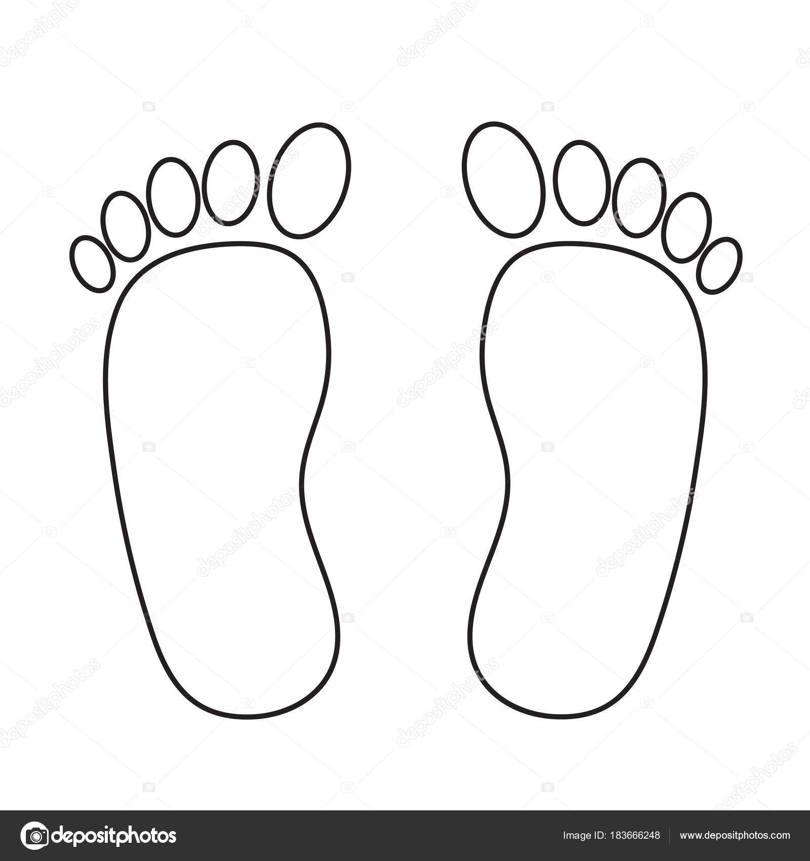 Foot Prints Black On White Stock Vector Illustration Stock