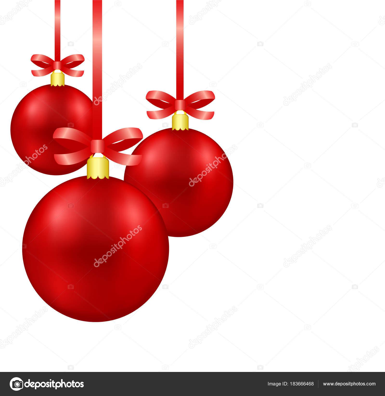 rote weihnachtskugeln auf band mit bogen isoliert hangi dekoration stockvektor vovanivan. Black Bedroom Furniture Sets. Home Design Ideas