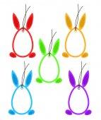 Fotografie Set 5 Ostern Anhängeetiketten Eiern Bunny Ohren Füße Rahmen Farbe auf weiß