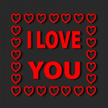 I Love You lettering Greeting Card with red hearts. Typographica