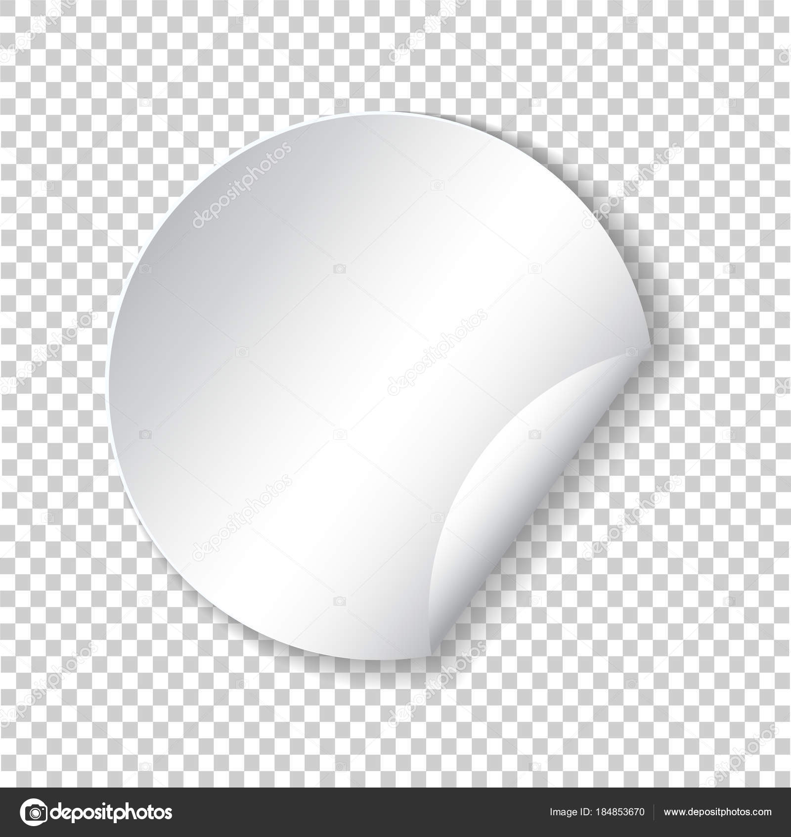 round paper sticker template with bent edge with translucent sha
