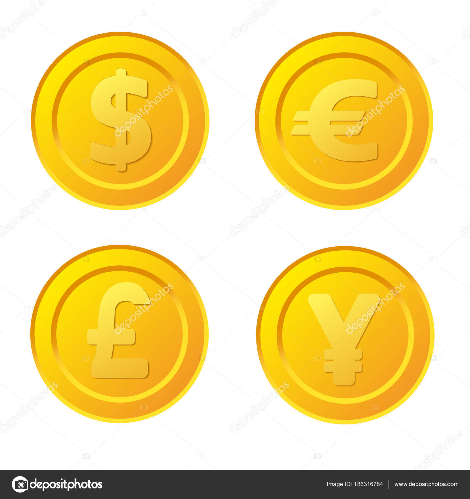 Set of stylized golden coin with currency symbols dollar euro set of stylized golden coin with currency symbols dollar euro stock vector biocorpaavc Images