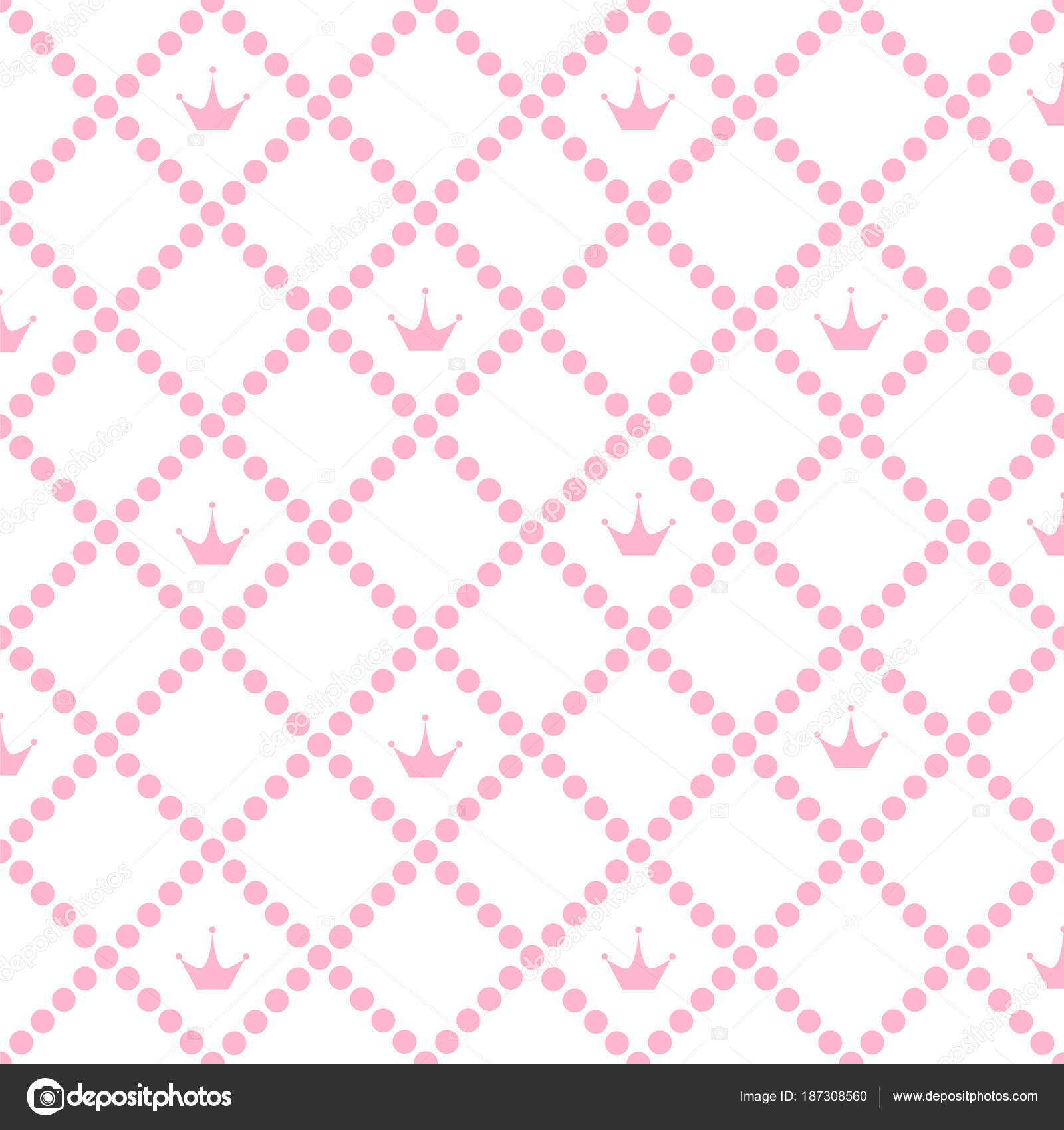 Princess Background Pattern With Pink Crown Stock Vector Illustr