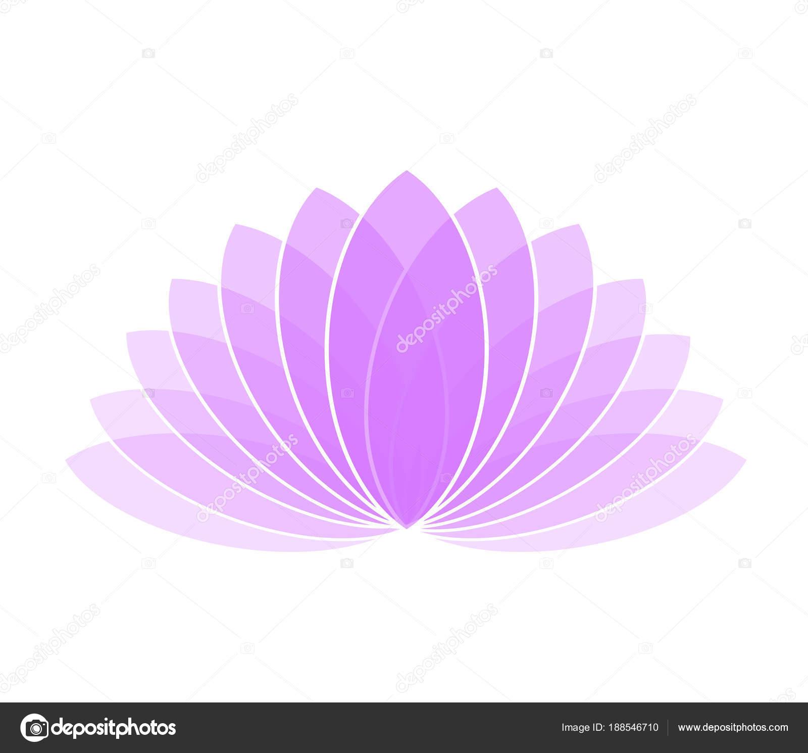 Violet Lotus Flower Icon Logo On White Background Illustration