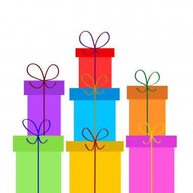 Christmas or birthday gift boxes on white, stock vector illustra