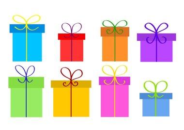 Christmas or birthday gift boxes on white, stock vector illustra