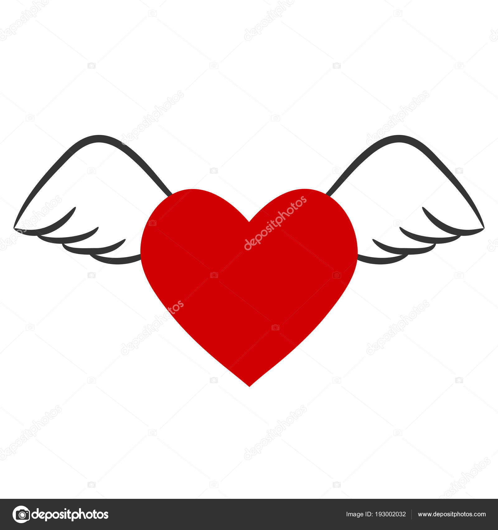 Red Heart With Wings For Valentine S Day Stock Vector Illustrat