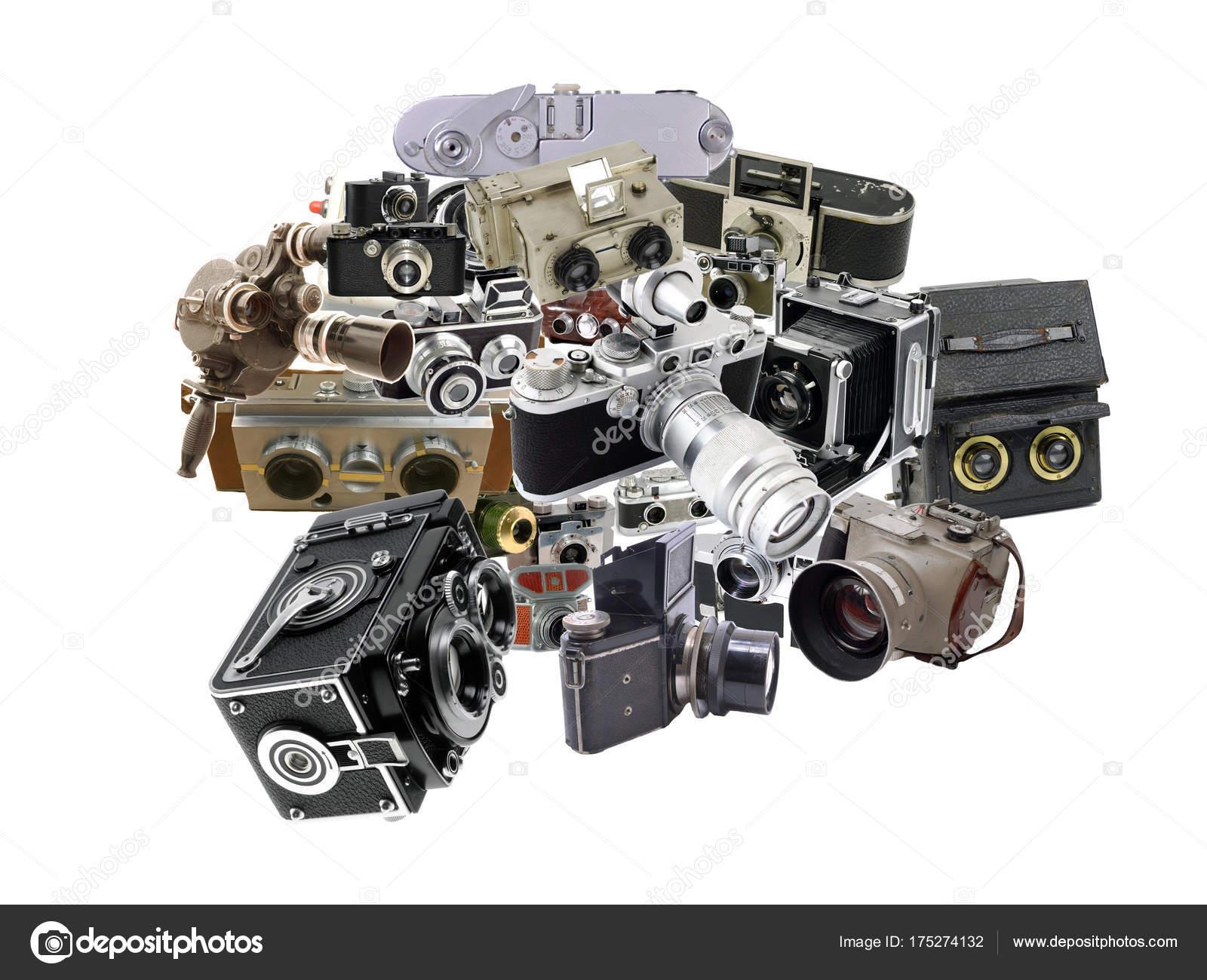 Foto Collage Von Antiken Und Klassischen Fotokameras — Stockfoto ...