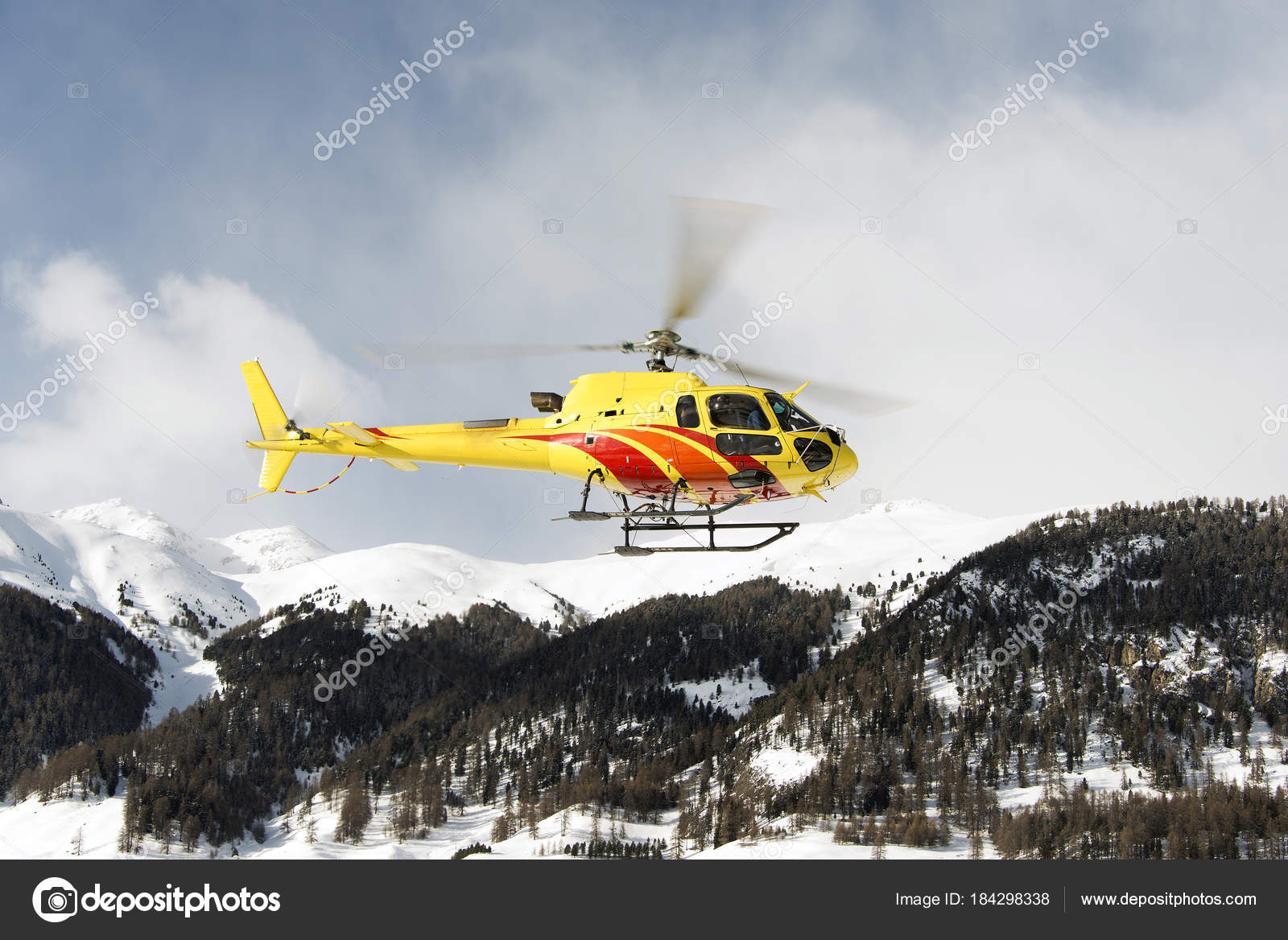 Yellow Helicopter Flying Air Small Town Engadin Moritz