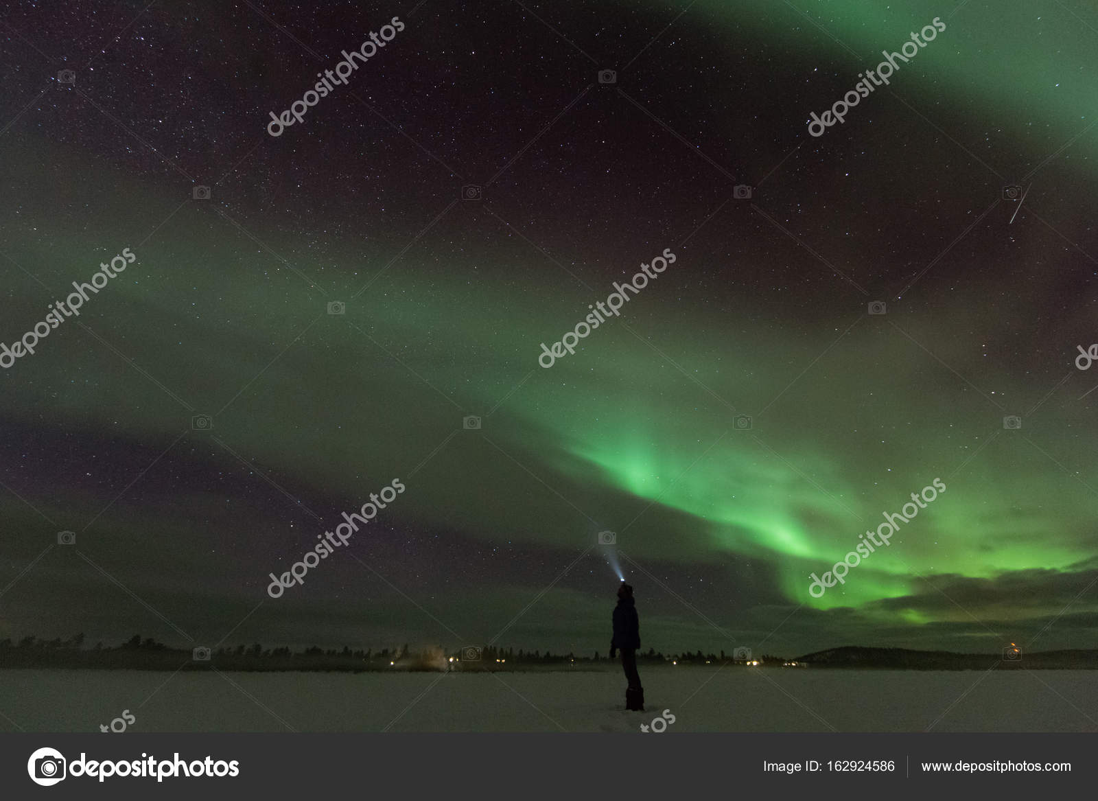 Night Shot Of Northern Lights In Frozen Winter Country U2014 Stock Photo