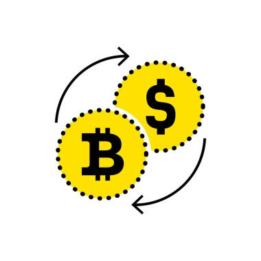 Abstract icon dollar to bitcoin exchange icon. Flat design. Vector illustration isolated white background for website or app and etc.