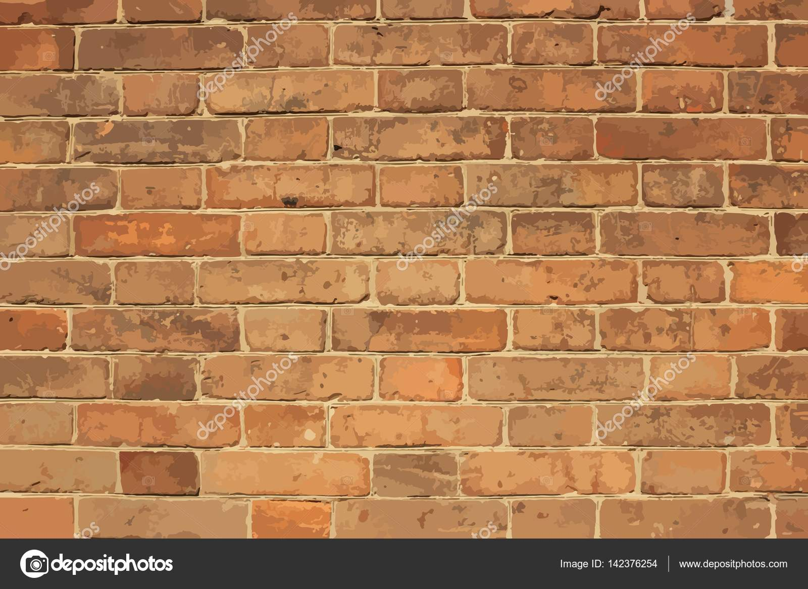 Bricks Wall Full Scale Background Stock Vector Mtmmarek 142376254