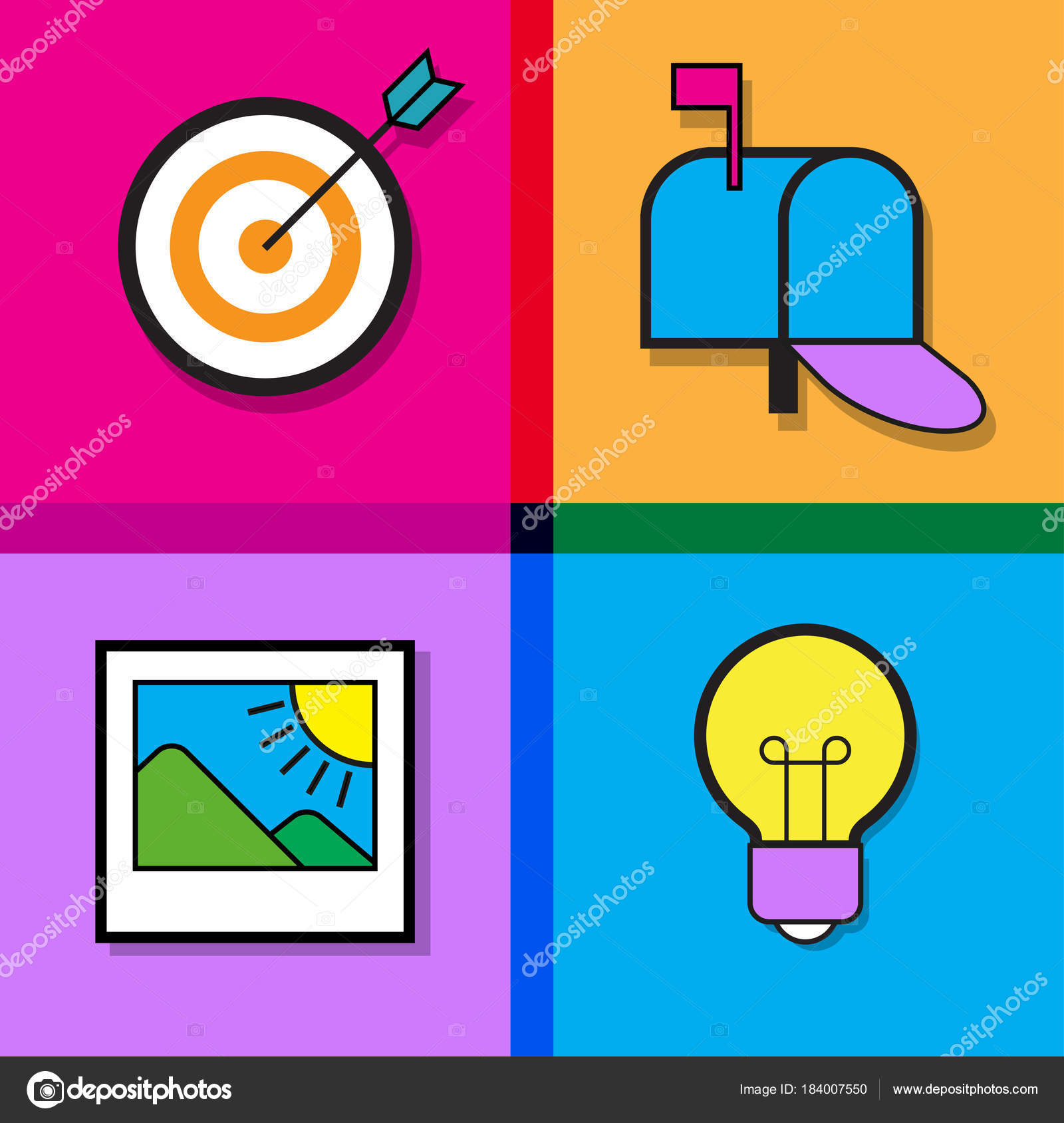 email advertising design infographic template icons set modern flat