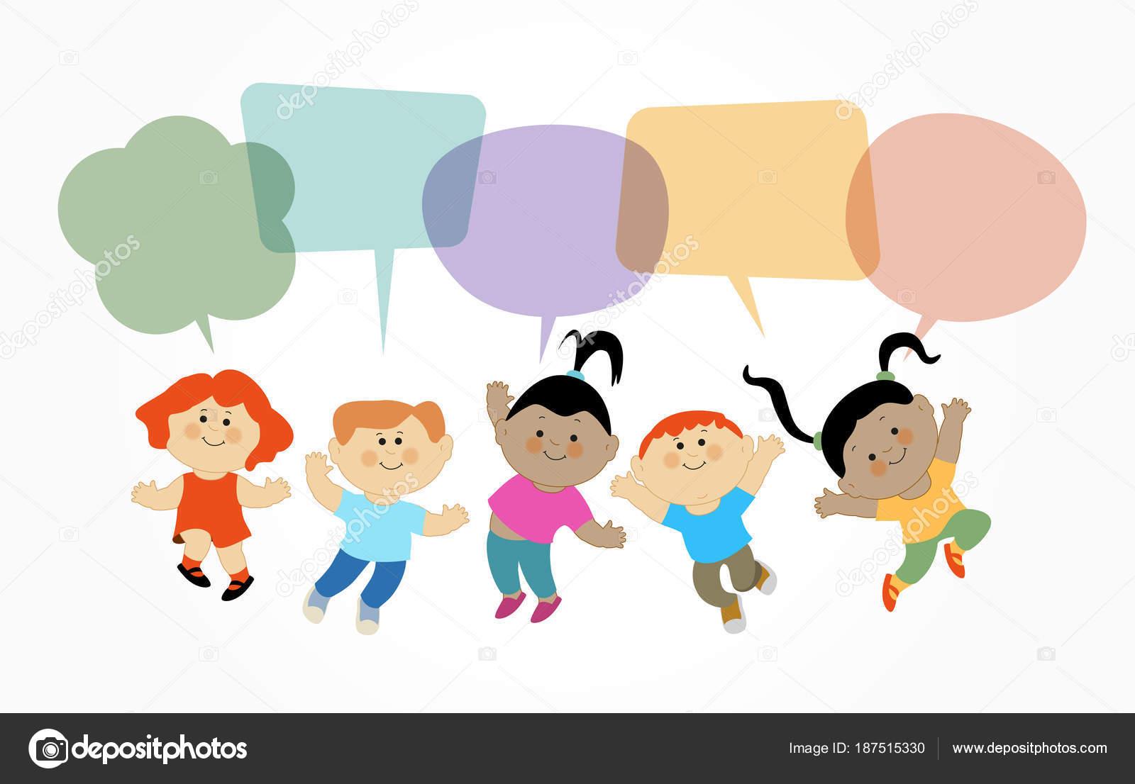 Niños Caricatura Jugando Patrón Diseño Plano Con Niño