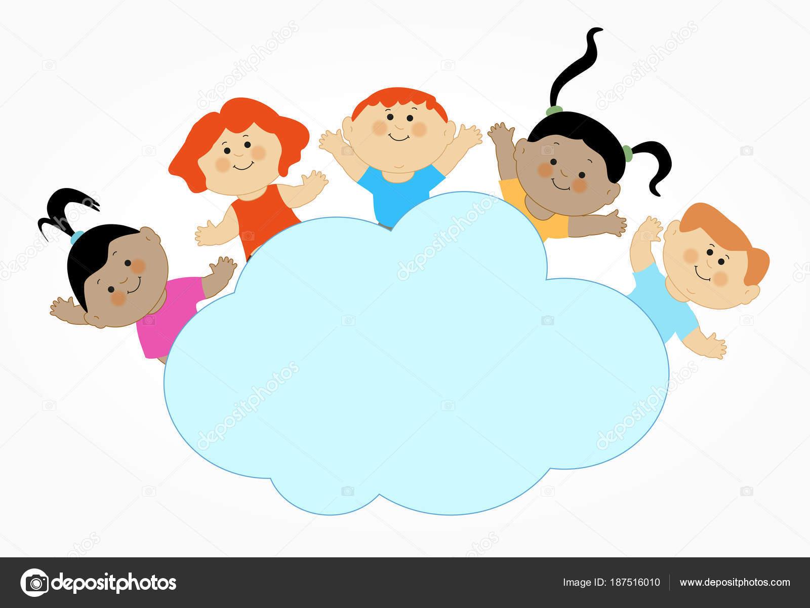 Niños Caricatura Jugando Patrón Diseño Plano Con Niño — Vector de stock e9811748f8b