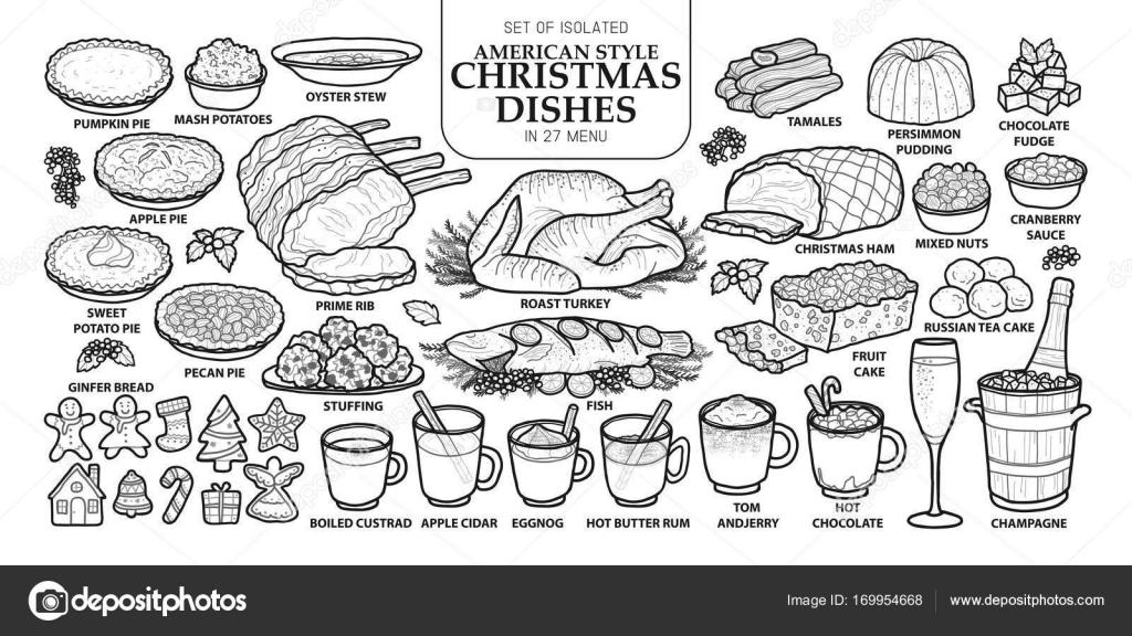 Menu Di Natale Americano.Set Di Piatti Di Natale Isolato Tradizionale Stile Americano