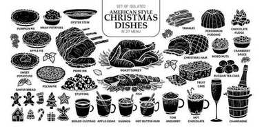 Set of isolated traditional American style Christmas dishes in 27 menu. Cute ha