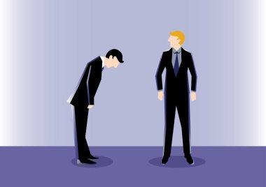 Business Illustration of a businessman Bow to his leader as a symbolism of respect